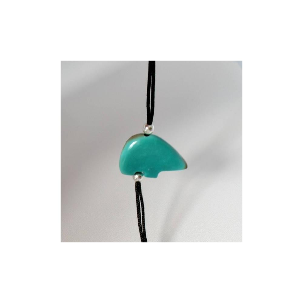 Bracelet Pop Turquoise du Tibet. Argent massif rhodié