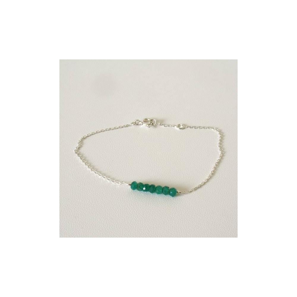 Bracelet Sow agate verte. Argent massif rhodié