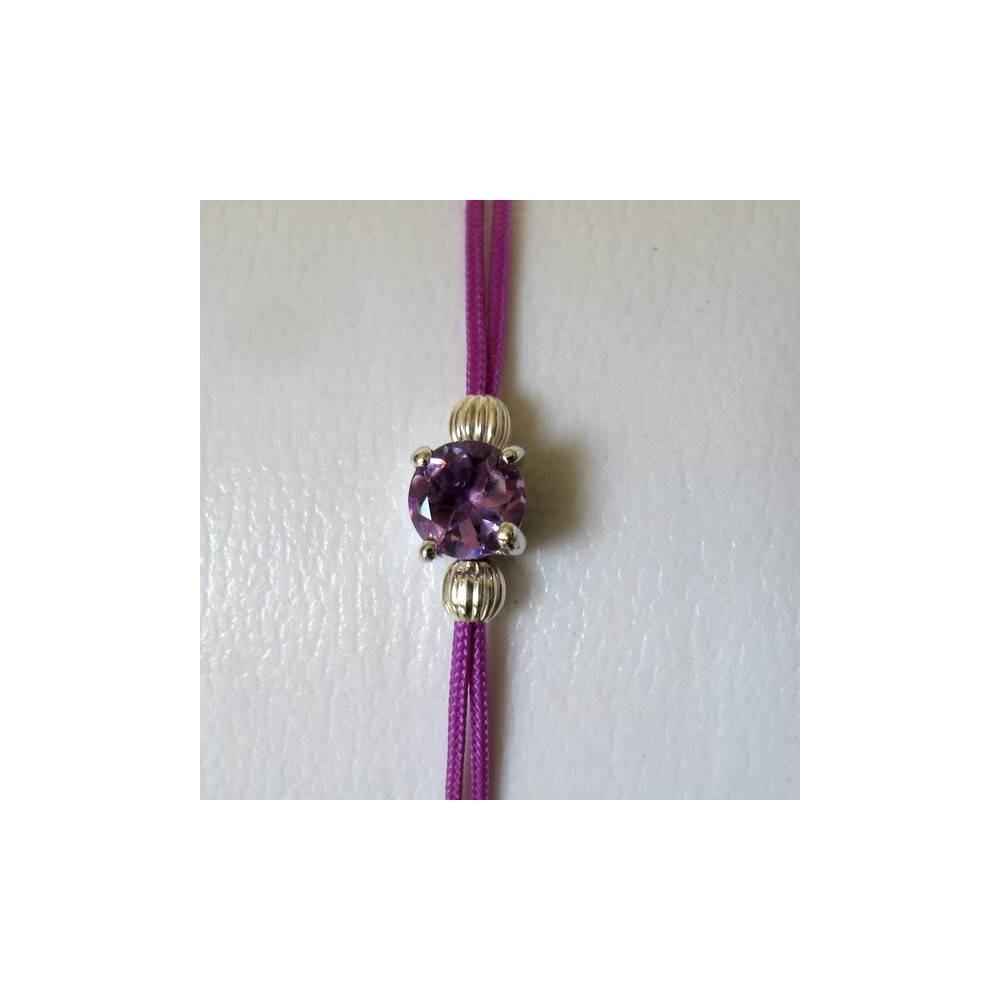 Bracelet améthyste fil violet. Argent massif rhodié
