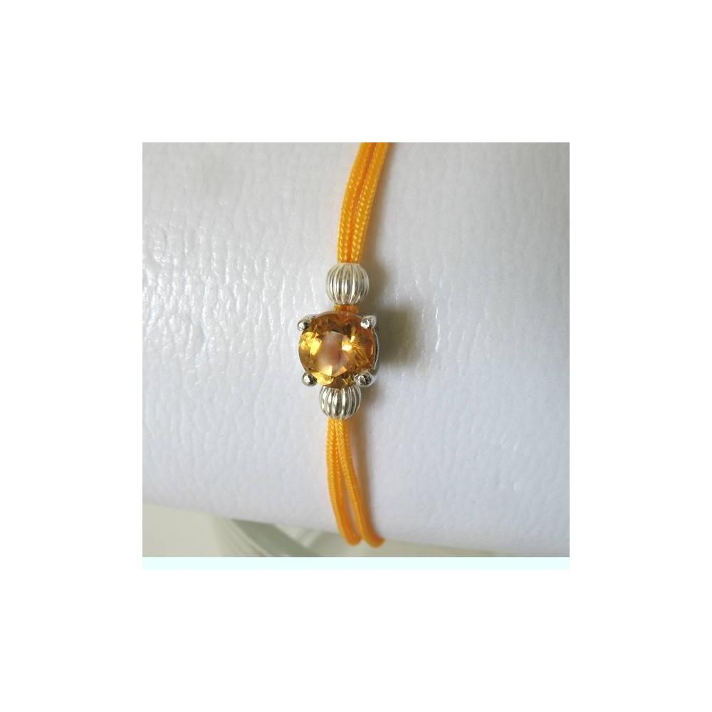 Bracelet POP citrine fil jaune. Argent massif rhodié