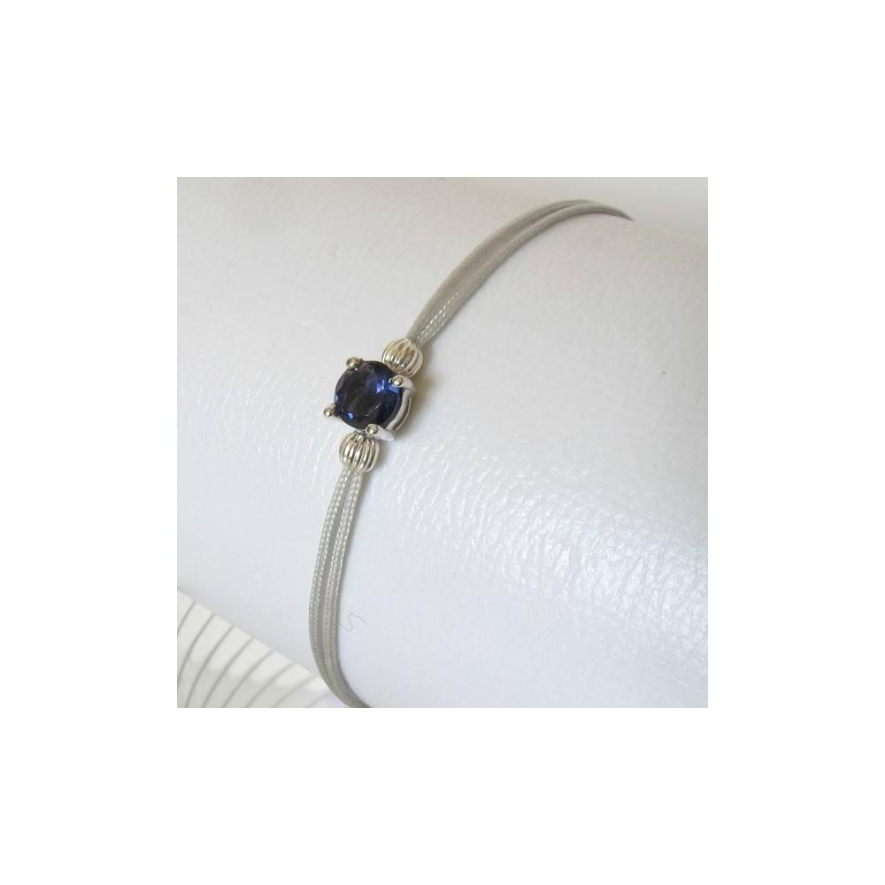 Bracelet POP iolite fil argent. Argent massif rhodié