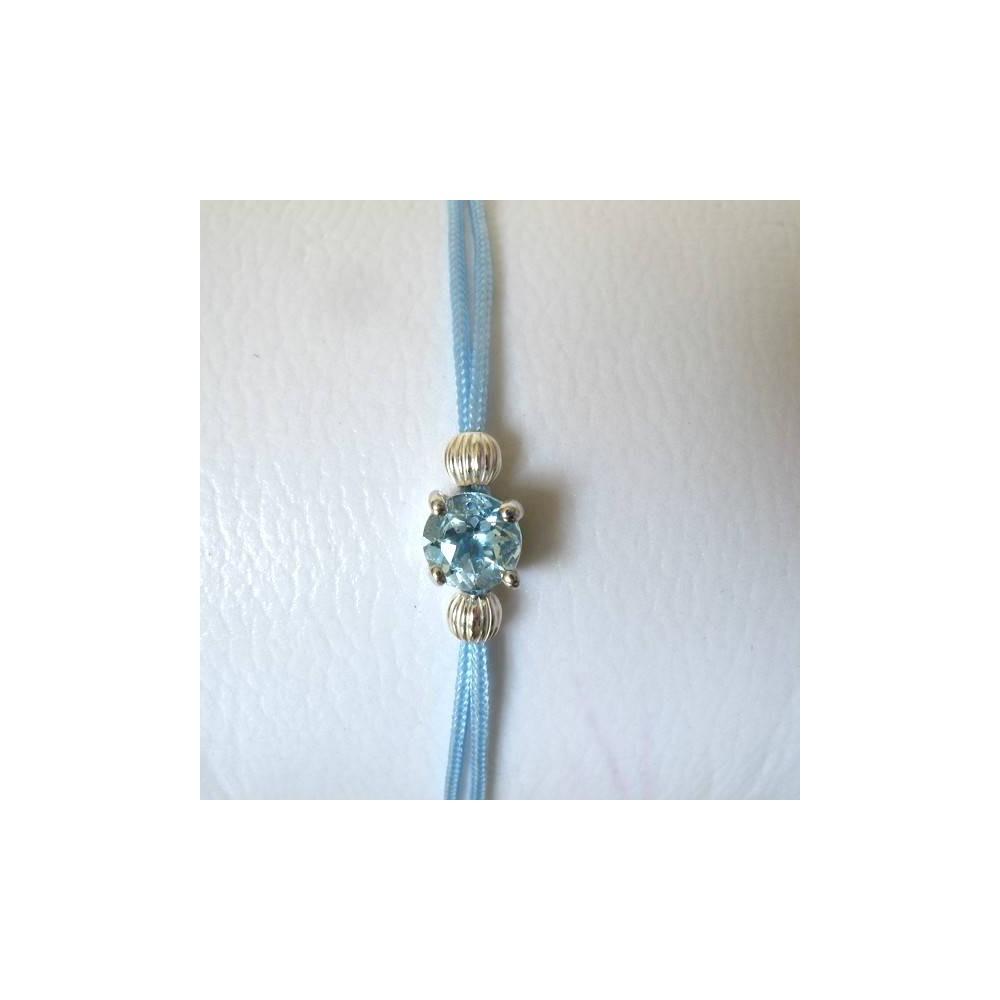 Bracelet POP Topaze fil bleu ciel. Argent massif rhodié