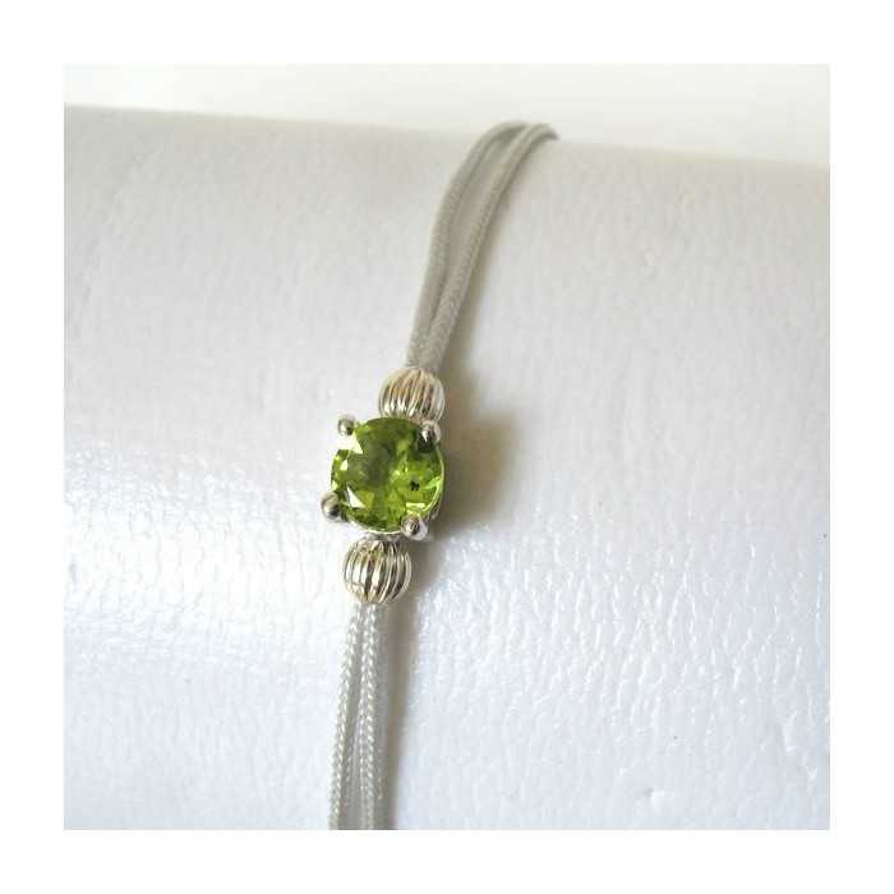Bracelet POP péridot fil argent. Argent massif rhodié