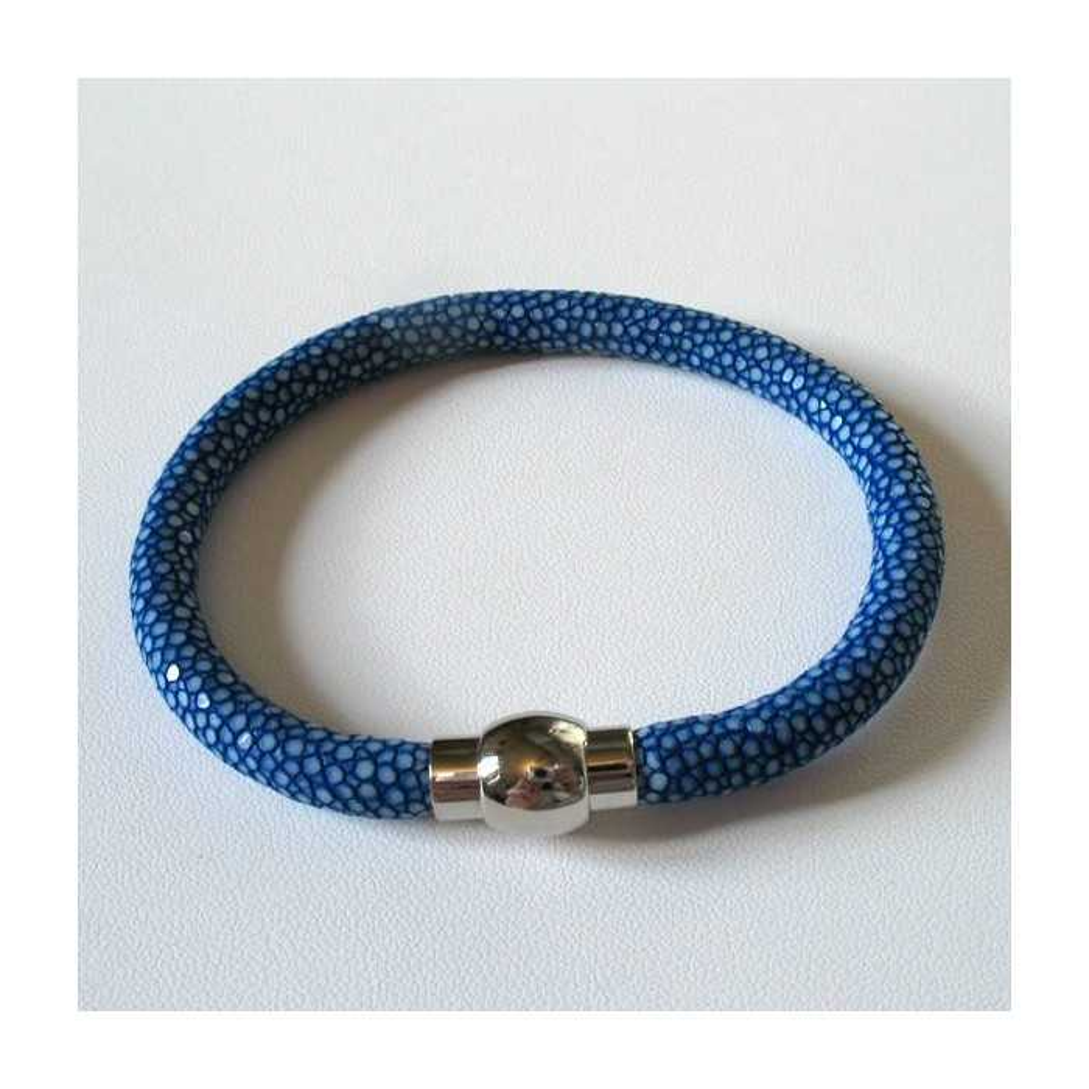 Bracelet  RAY DECO en galuchat bleu saphir