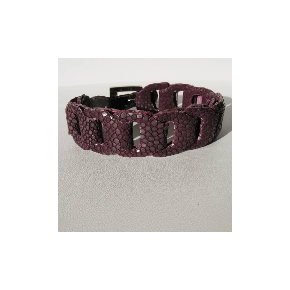 Bracelet  RIVER en galuchat violet améthyste
