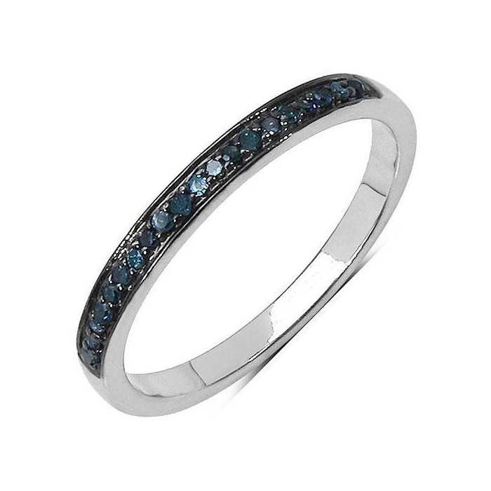 Andromède Bague diamant bleu. Argent massif rhodié