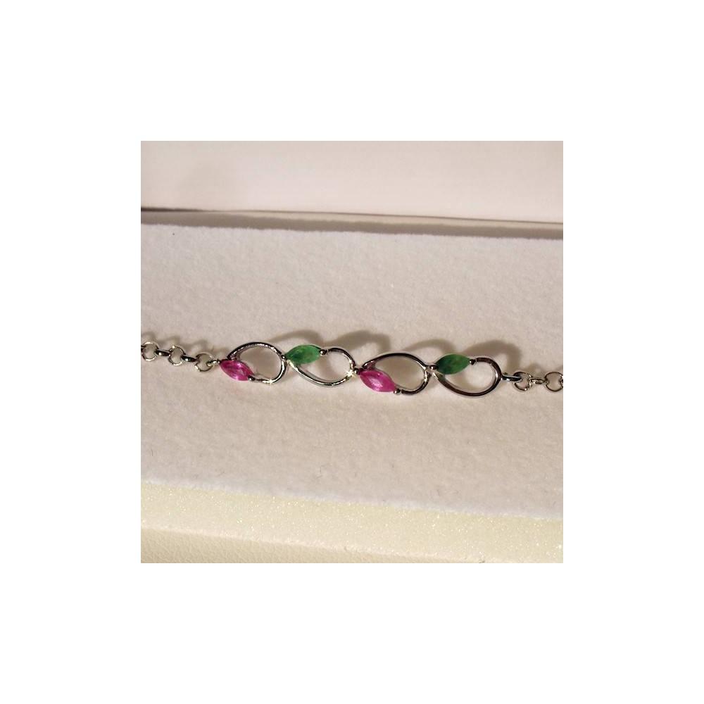 Bracelet Epidor rubis et émeraude. Argent massif rhodié