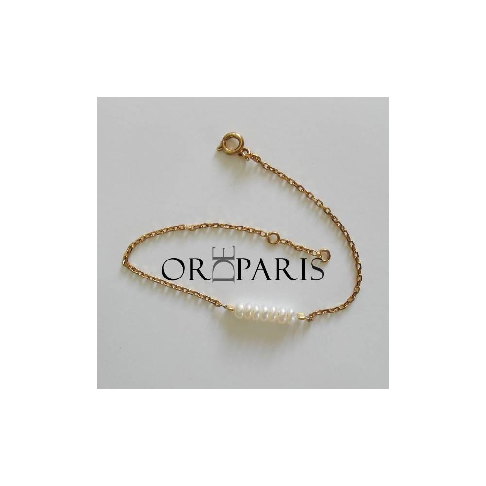 Bracelet Show perles. Plaqué or