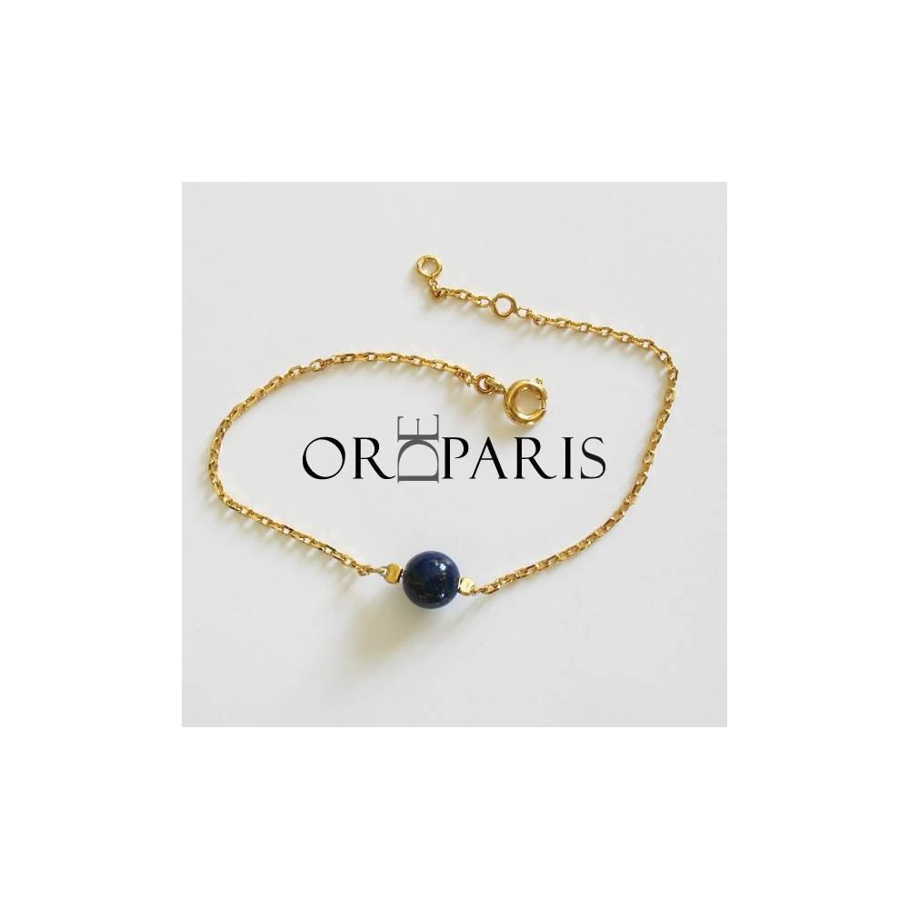 Bracelet Show Lapis lazuli. Plaqué or