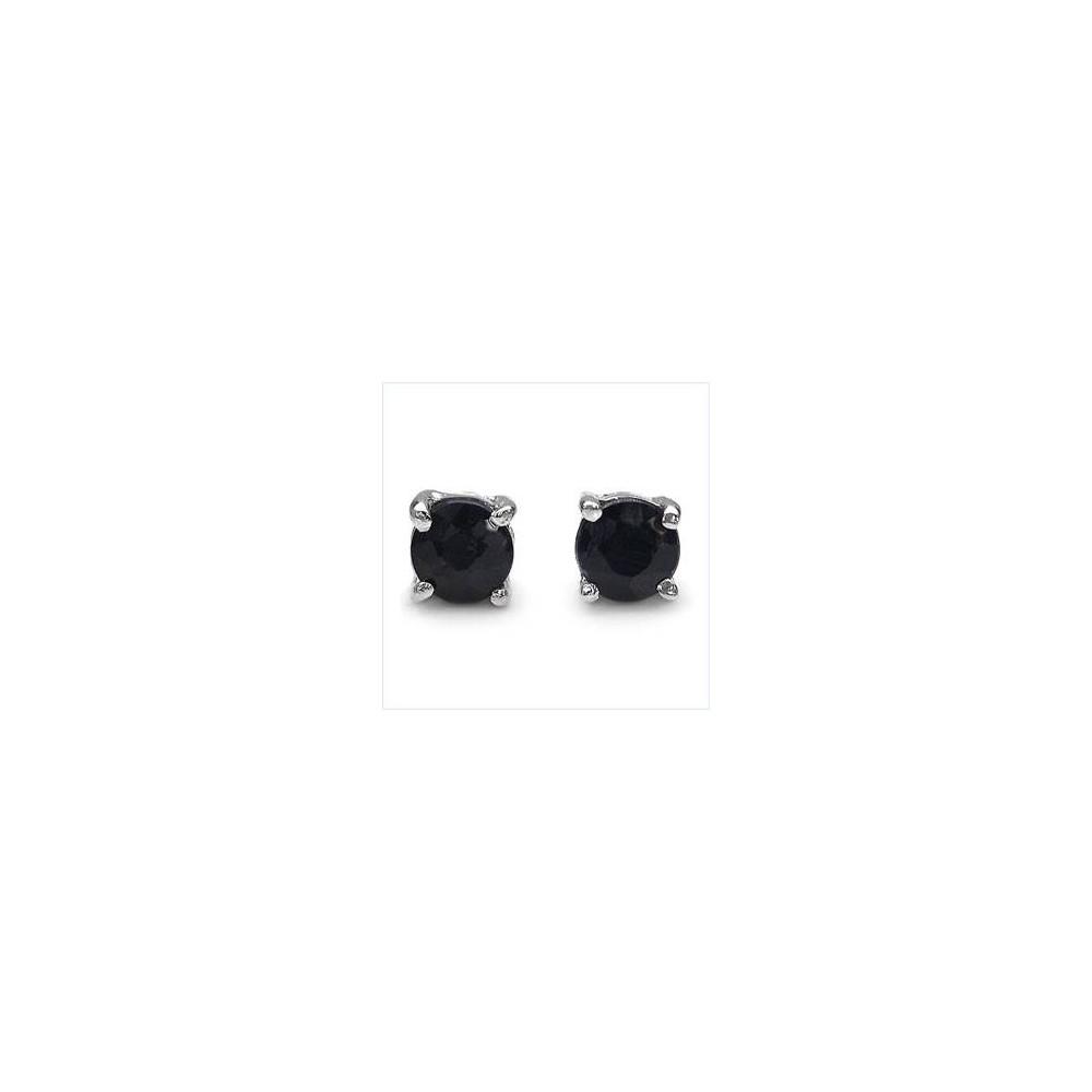 Boucles CLASSIC4 saphirs 4mm. Argent massif rhodié