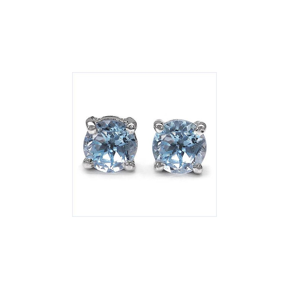 Boucles CLASSIC5 topazes bleues 5mm. Argent massif rhodié