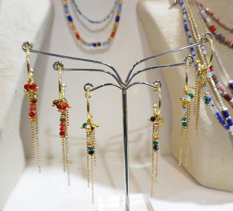 Boucles d'oreilles fantaisie en pierres semi précieuses