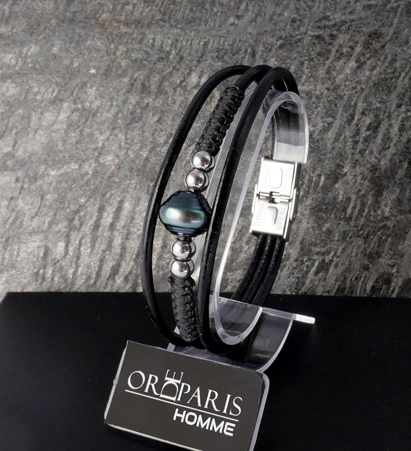 Bracelet Homme Perle de Tahiti Duo