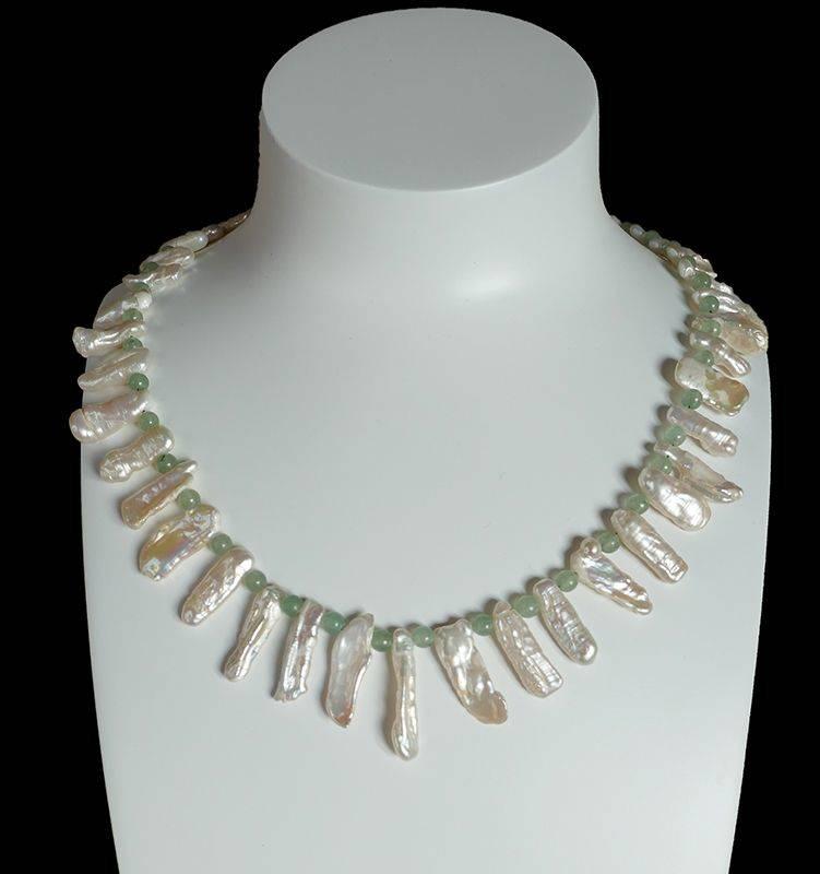 ARIA, collier de perles naturelles Keshis et aventurine verte