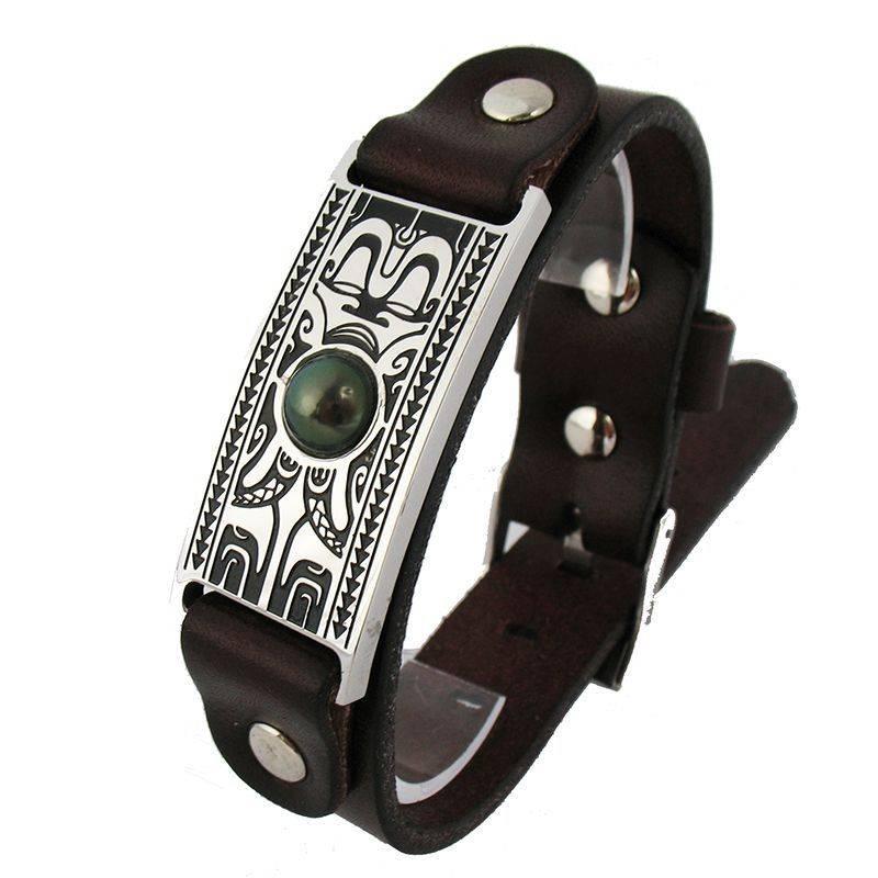 Bracelet pour homme en cuir, acier et perle de Tahiti